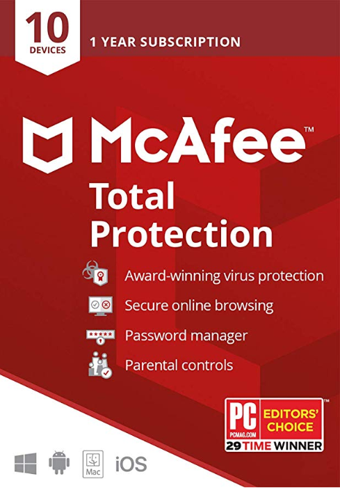 Mcafee Total Protection 10 Devices 1 Year Global