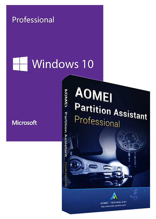 Windows10 PRO OEM+AOMEI Partition Assistant Professional + Free Lifetime Upgrades Key Global