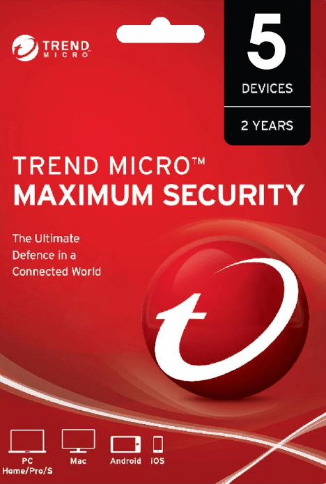 Trend Micro Maximum Security 5 PC 2 Years Key Global